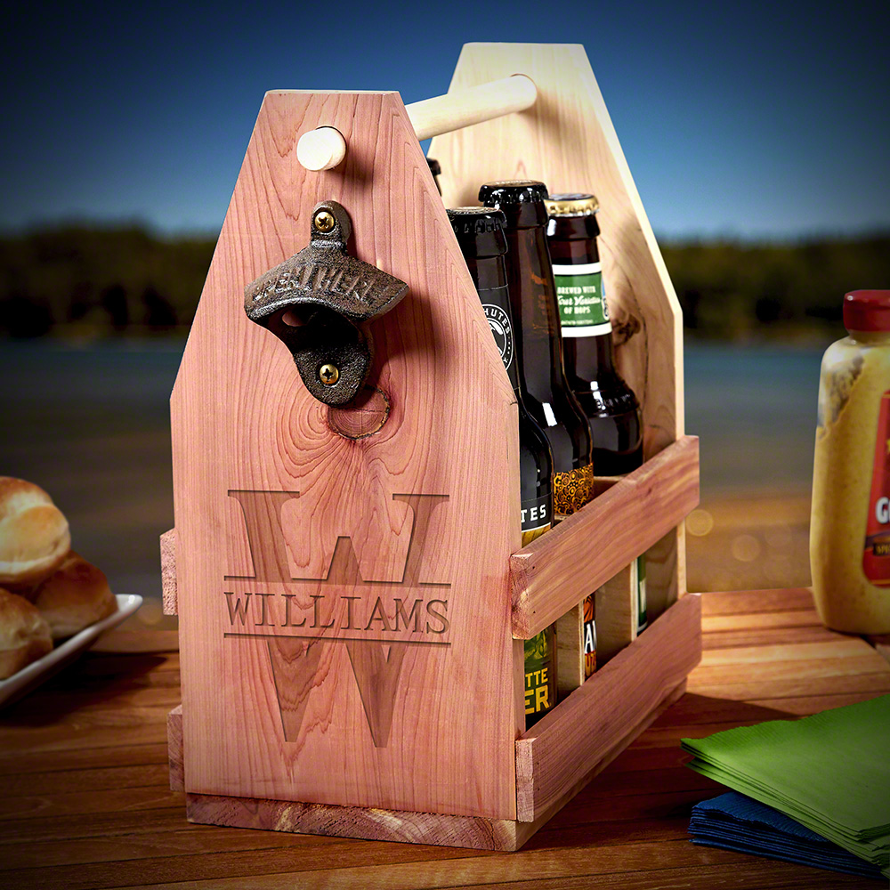 Personalized Cedar Wood Beer Caddy