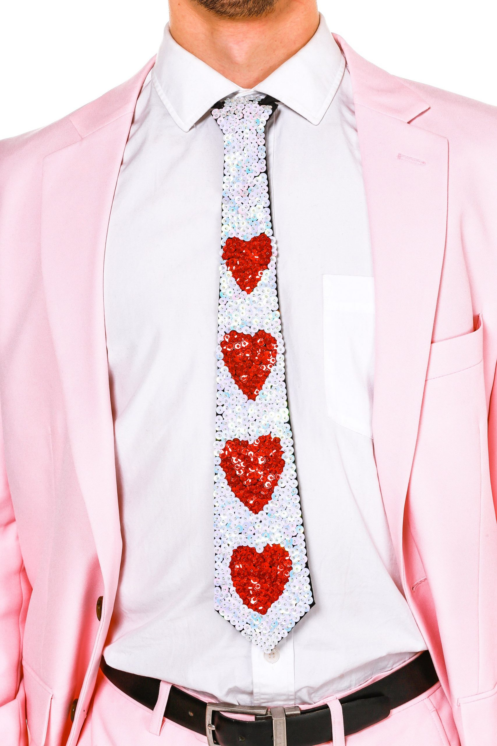 Red Heart Sequin Tie for Valentine's Day
