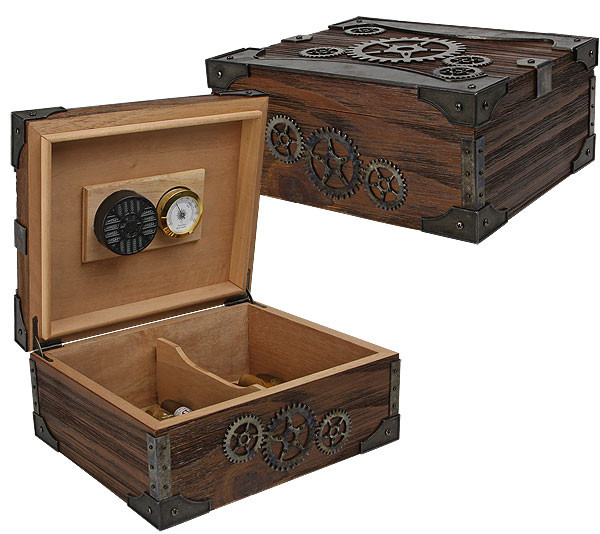 Steampunk Cigar Humidor Box Gifter World
