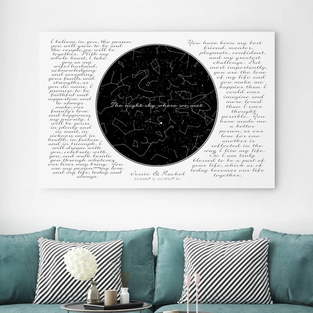 Custom Night Sky with Vows for Wedding Gift Gifterworld