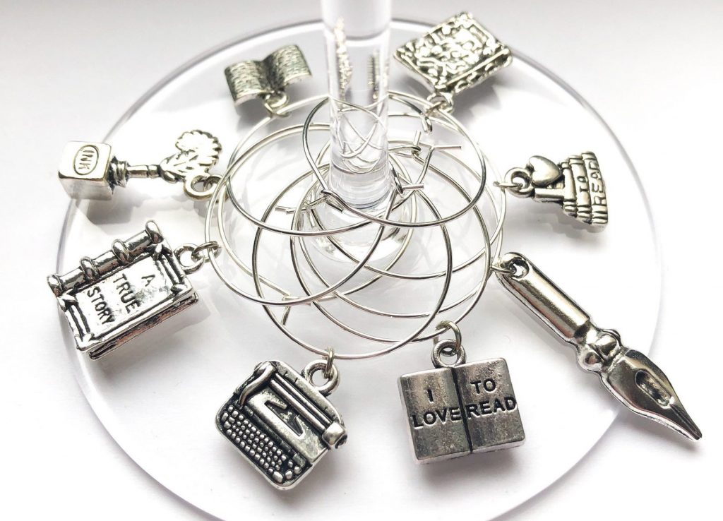 Book Club Wine Charms for Gifts for Book Enthusiasts by Gifter World