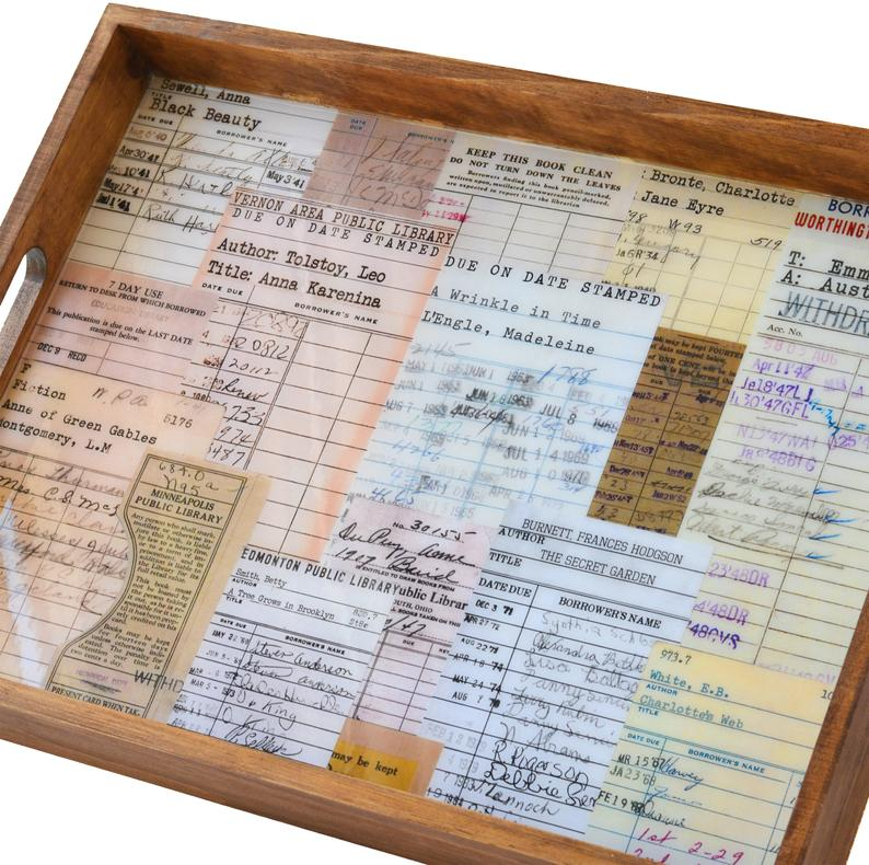Library Due Date Card Serving Tray for Book Lovers by Gifter World