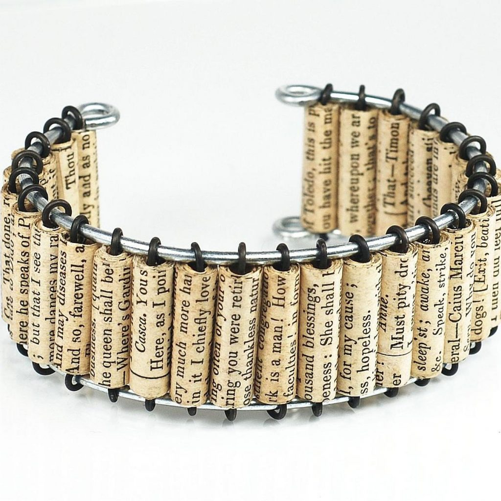 Shakespeare upcycled Paper Bracelet for Gifts for Book Lovers by Gifter World