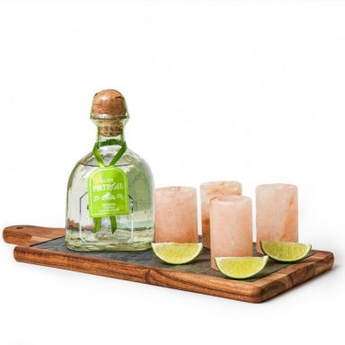 Patron Silver Tequila Gift Set with Pink Himalayan Salt Shot Glasses by Gifter World