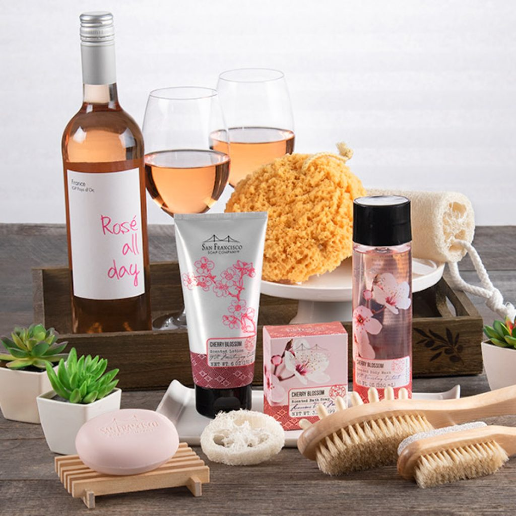 Spa and Wine Gift Basket and 25 Unique Stress Relief and Relaxation Gifts for Women by Gifter World