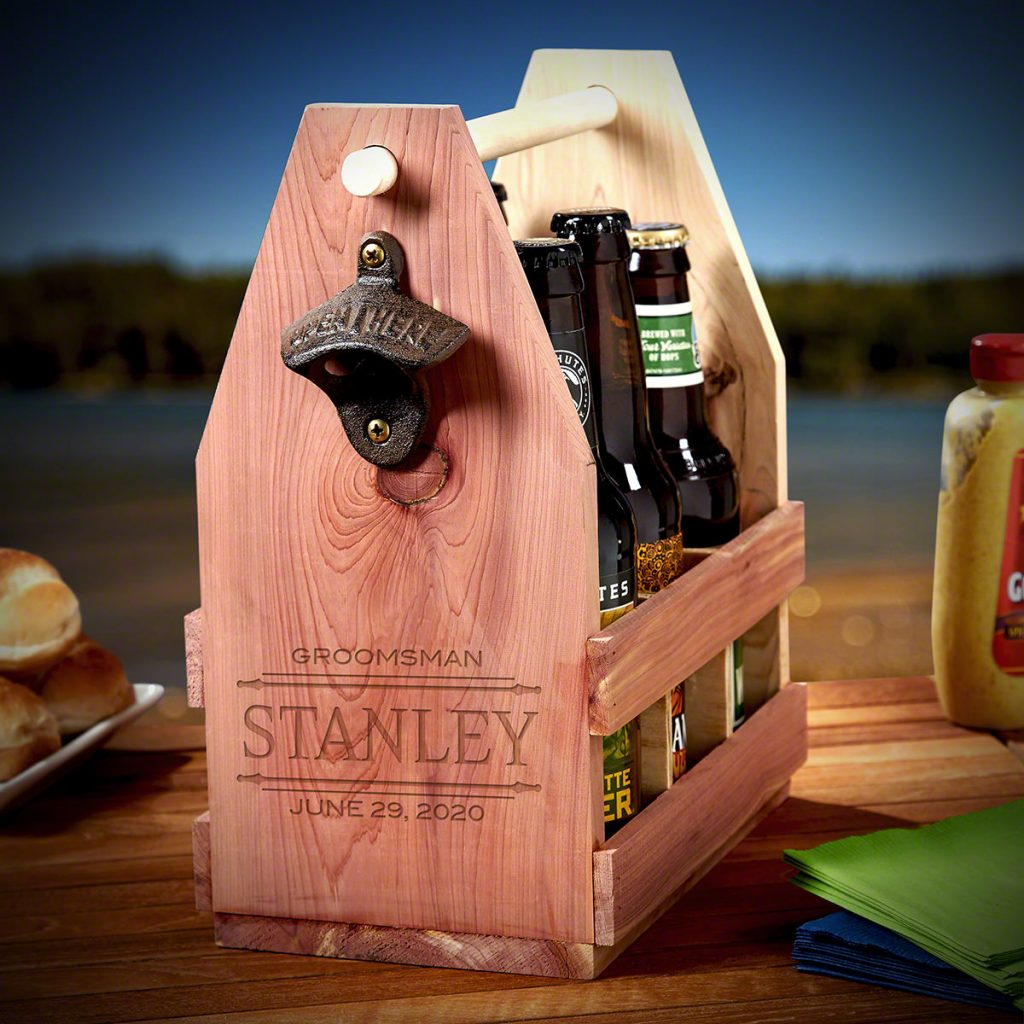 Personalized Wooden Beer Caddy for Unique Gifts for Beer Lovers by Gifter World