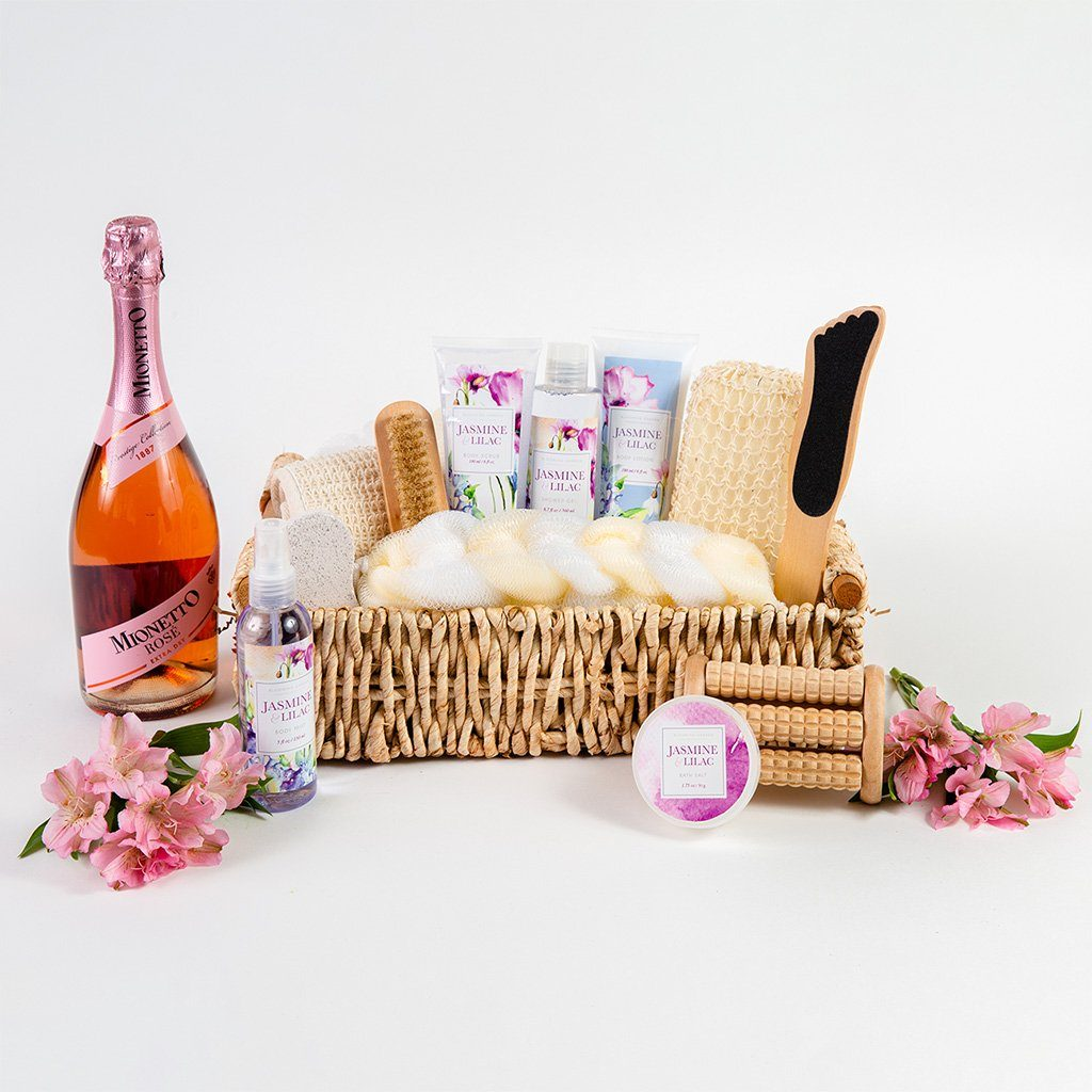 Wine and Spa Gift Basket and Relaxation Gifts for Women and Men by Gifter World