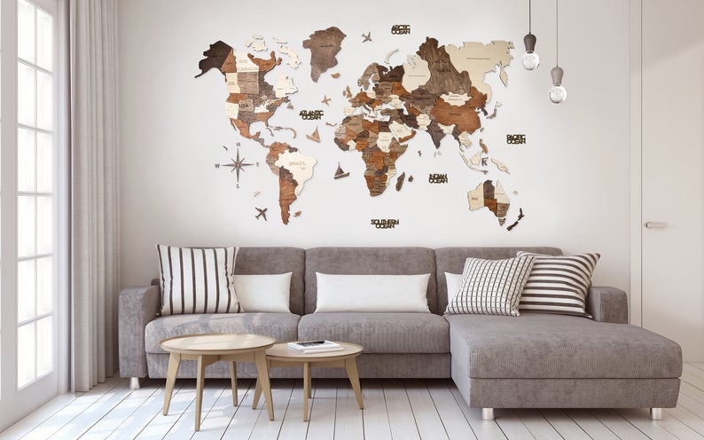 Wooden World Map Wall Decor 3D by Gifter World