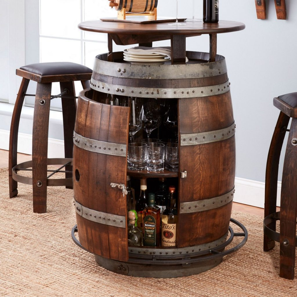 Wine and Whiskey Barrel Stools and Table and Unique Man Cave Gifts by Gifter World