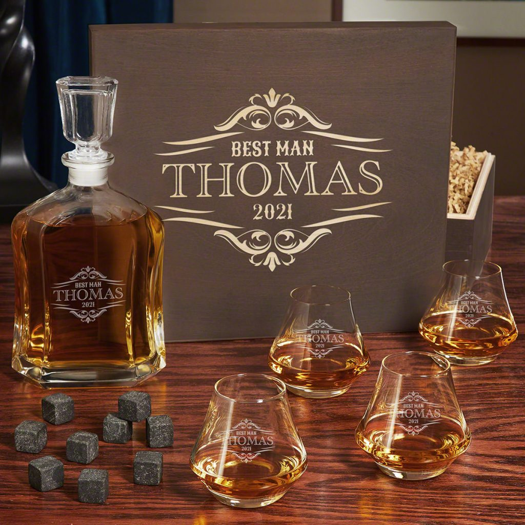 Personalized Whiskey Decanter Set and Unique Man Cave Gifts by Gifter World