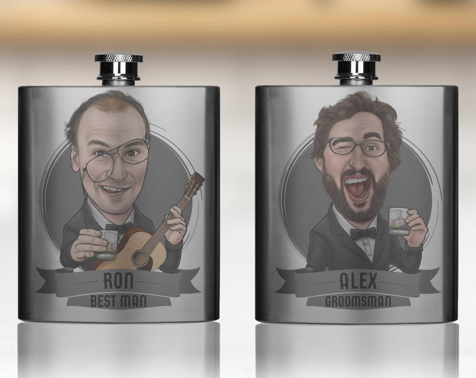 Caricature Flask for Groomsmen by Gifter World