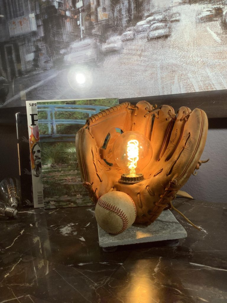 Vintage Baseball Mitt Lamp and Unique Gifts for Baseball Fans and Baseball Gifts by Gifter World