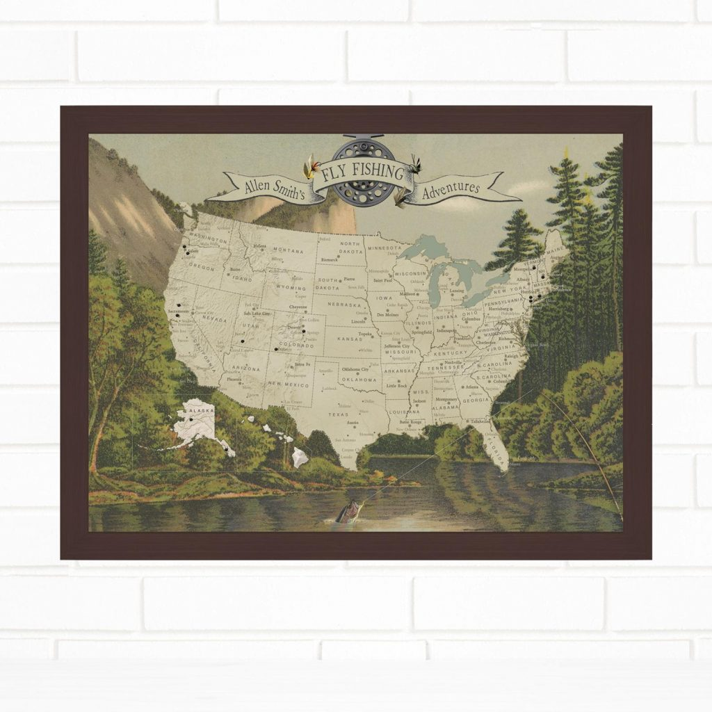 Fly Fishing Map and Unique Gifts for Fishermen and Personalized Fishing Gifts by Gifter World
