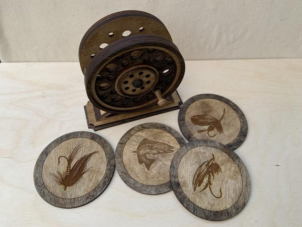 Fly Fishing Reel Coaster Set and Unique Gifts for Fishermen and the Best Fishing Gifts by Gifter World