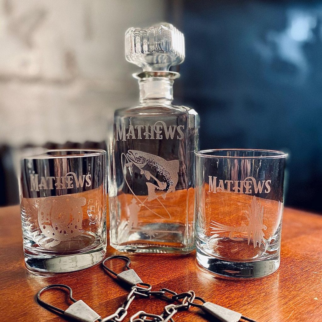 Personalized Fly Fishing Whiskey Decanter and Unique Gifts for Fishermen and Other Personalized Fishing Gifts by Gifter World