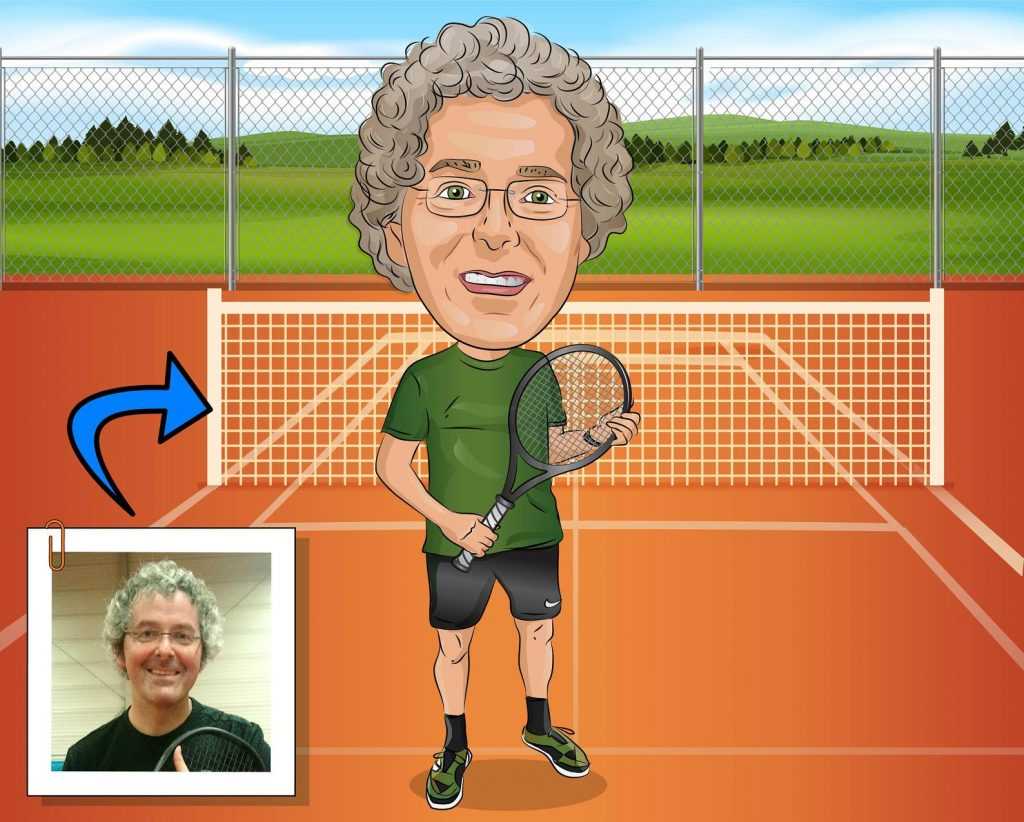 Tennis Caricature and The Best Gifts for Tennis Players and Other Tennis Gifts by Gifter World