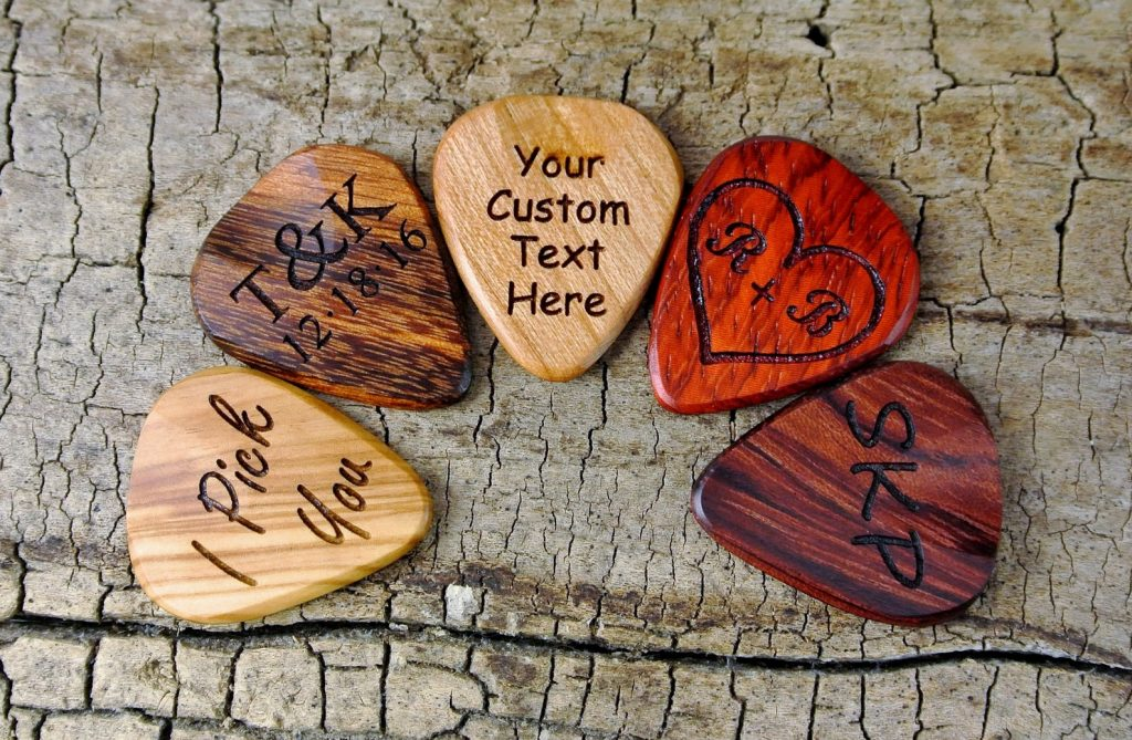 Custom Wood Guitar Picks and 5th Anniversary Gift Ideas for Music Lovers by Gifter World