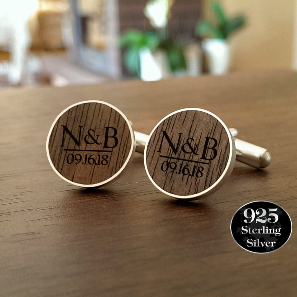 Personalized Wood Cufflinks and 5th Anniversary Gifts for Him by Gifter World