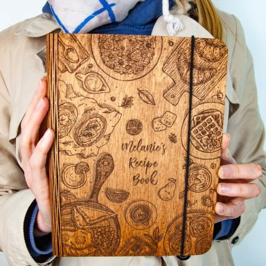 Personalized Wooden Recipe Book or Notebook by Gifter World