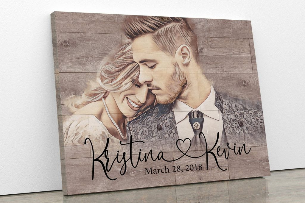 Portrait on Wood and Romantic 5th Anniversary Gifts by Gifter World