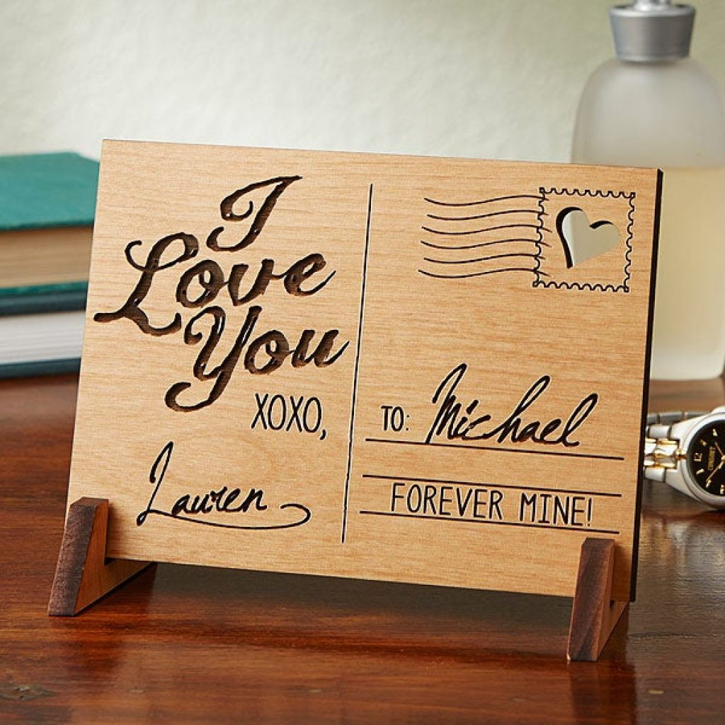 Wood Postcard and Personalized Valentine's Day Gifts for Her by Gifter World