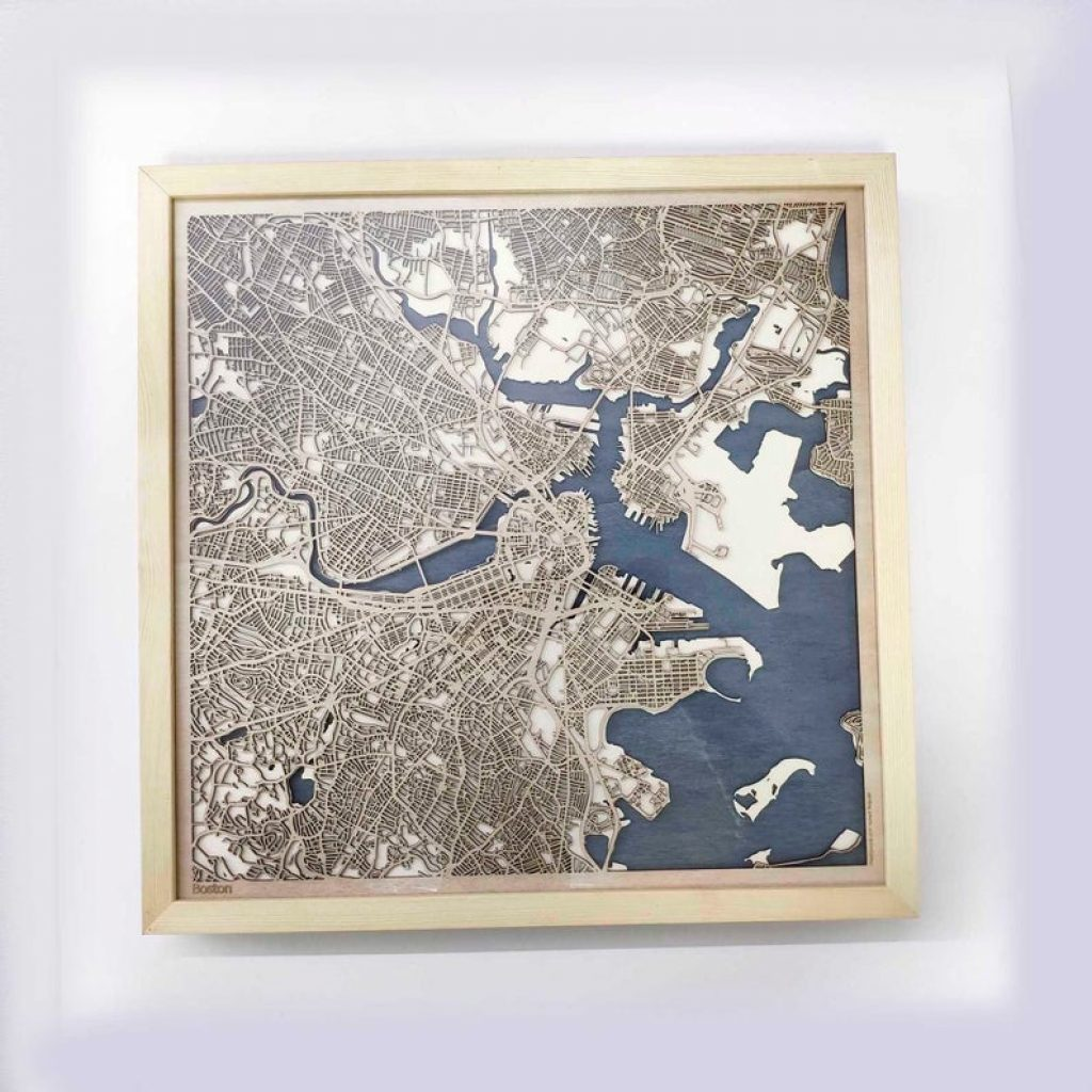 Wooden City Map and Personalized 5 Year Anniversary Gift Tradition by Gifter World