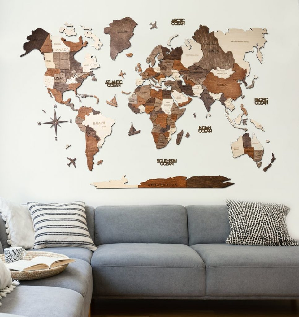 Wooden World Map for 5th Anniversary Gift Ideas and Romantic Wood Gifts by Gifter World