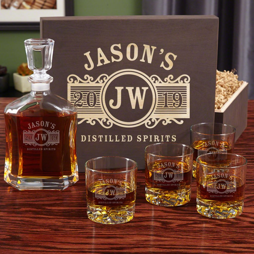 Personalized Whiskey Decanter Set and Unique Hostess Gift Ideas for Weekend Stay by Gifter World