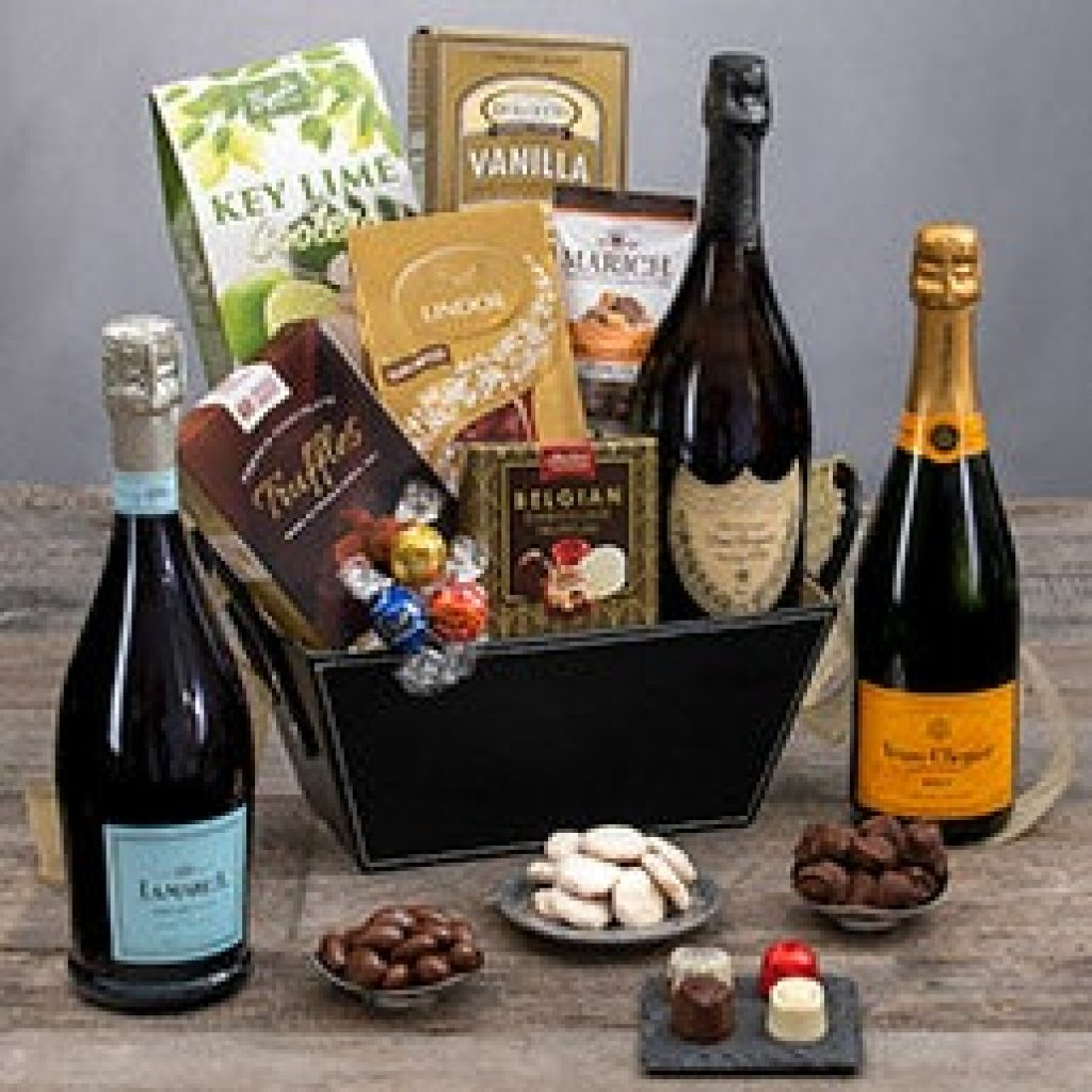 Champagne Gift Basket and Unique Hostess Gift Ideas for Overnight Stay by Gifter World