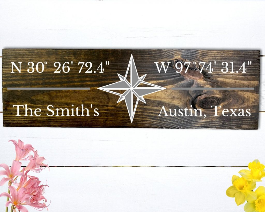 Coordinates Sign and Unique Personalized Wedding Gifts for Older Couples by Gifter World