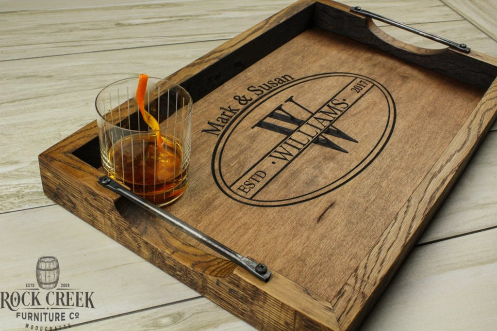Personalized Bourbon Serving Tray and Unique Wedding Gifts for Couples Who Have Everything by Gifter World