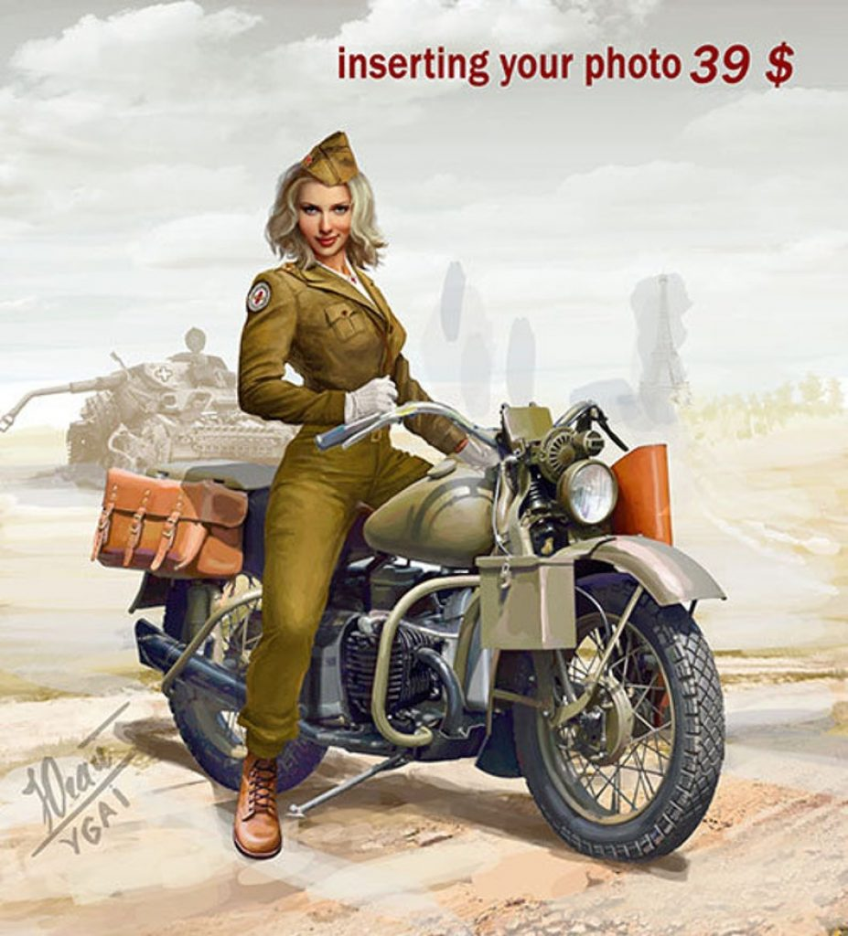 Personalized Motorcycle Pin-Up Portrait and the Best Gifts for Motorcycle Riders by Gifter World