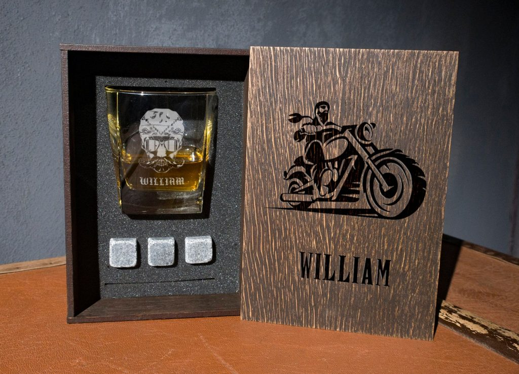 Personalized Motorcycle WHiskey Glass Set and Unique Personalized Motorcycle Gifts by Gifter World
