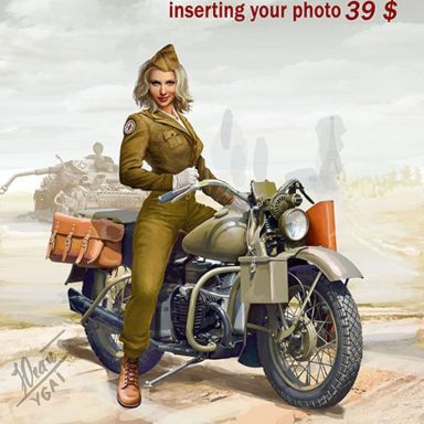 Personalized Pin-Up Motorcycle Portrait by Gifter World