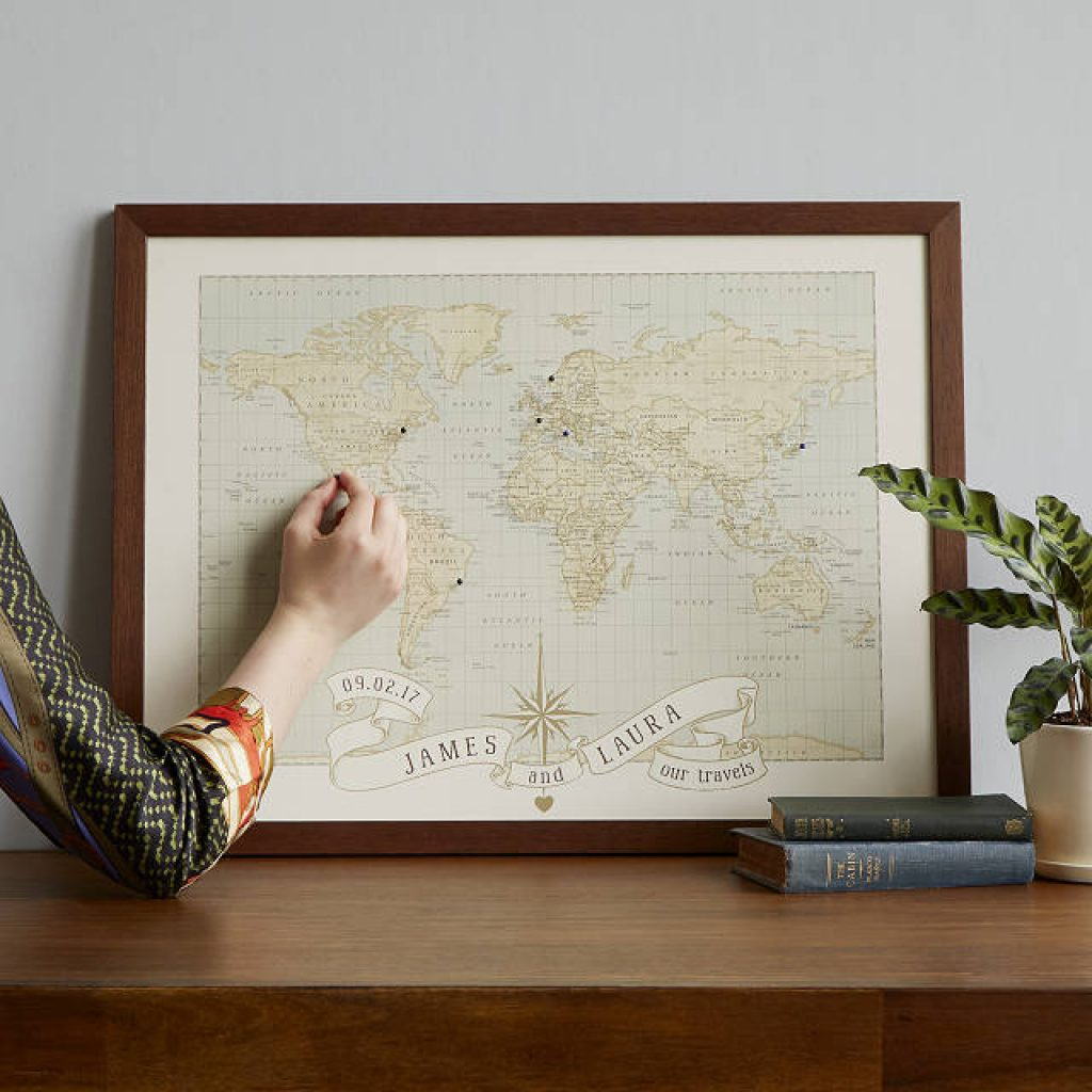 Personalized World Map and Unqiue Wedding Gifts for Couples Who Have Everything by Gifter World
