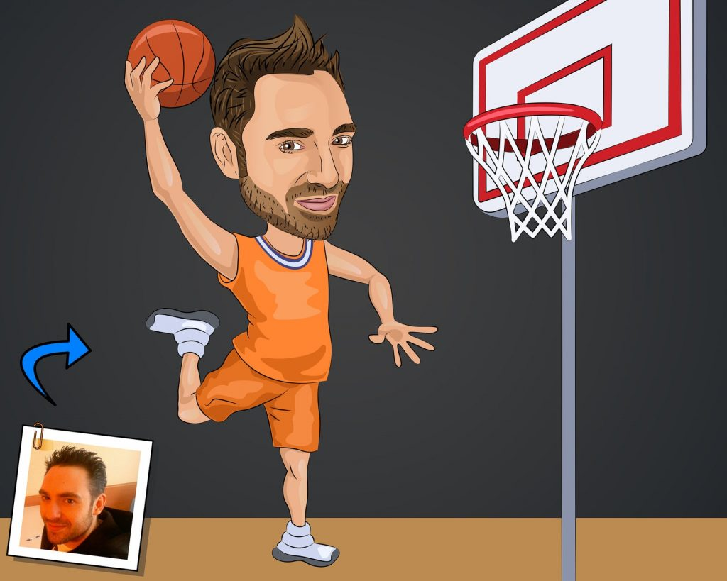 Custom Basketball Caricature Portrait and Personalized Basketball Gift Ideas for Guys and Gals by Gifter World