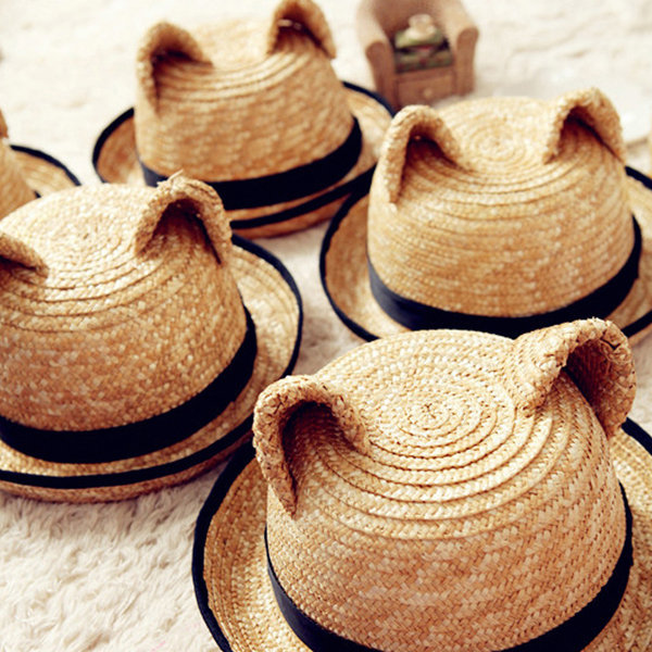Cat Ear Straw Hat by Gifter World