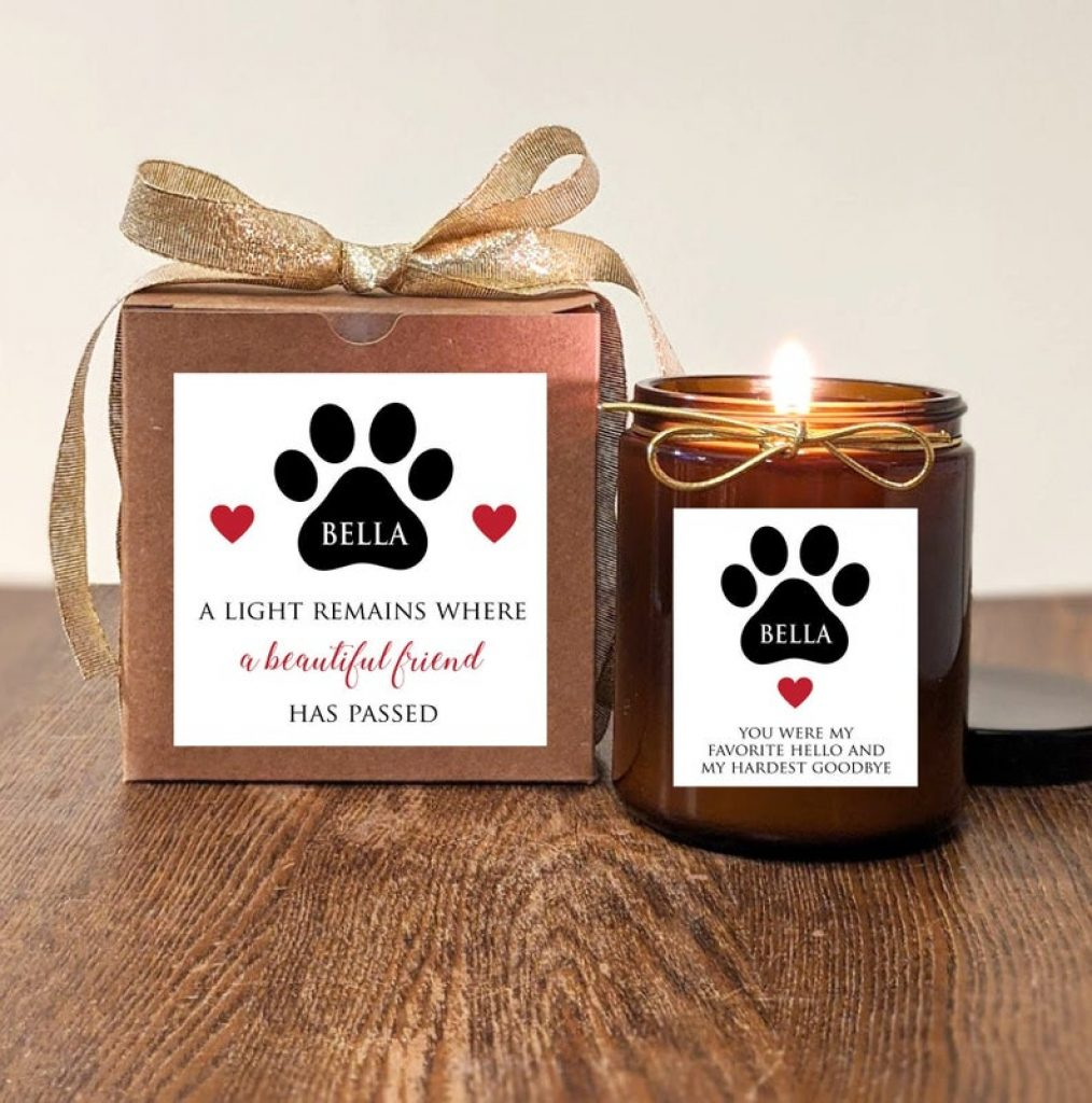 Personalized Pet Memorial Candle and Unique Gift Ideas for Someone Who Has Lost a Pet by Gifter World