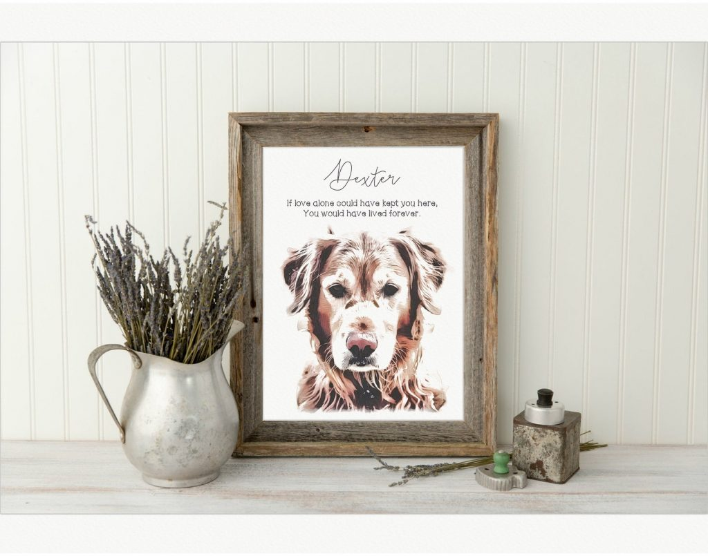 Pet Memorial Portrait and Unique Gift for Pet Loss by Gifter World