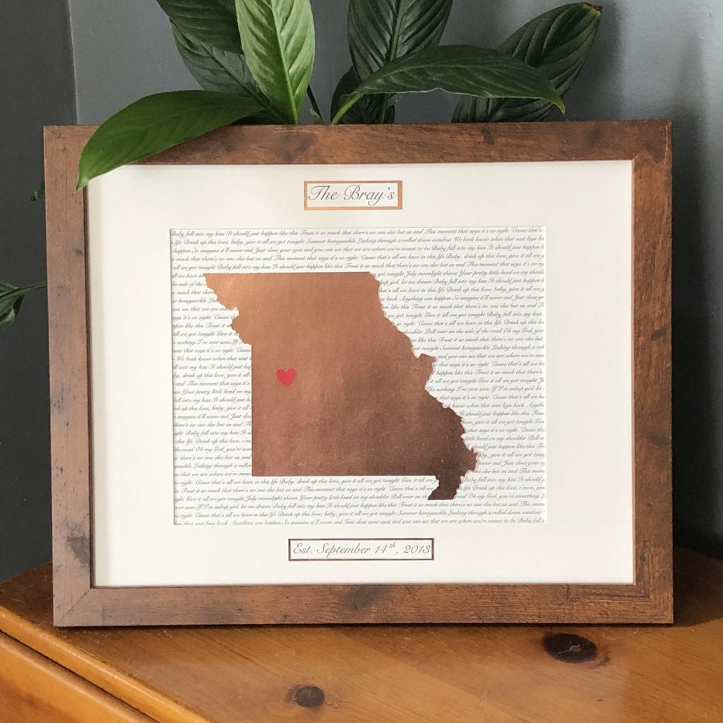 Copper Lyrics State Art and Unique 7 Year Anniversary Gifts by Gifter World