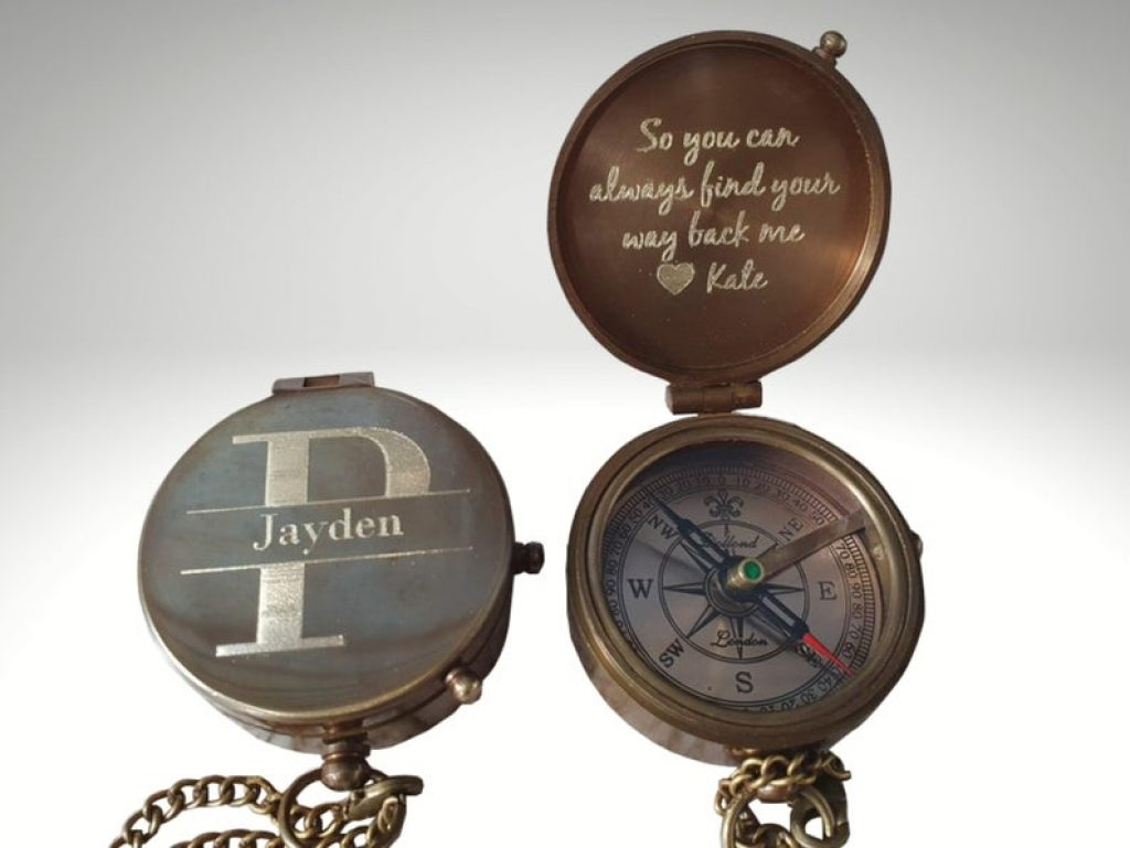 Custom Engraved Compass and Unique 7 Year Anniversary Gifts by Gifter World
