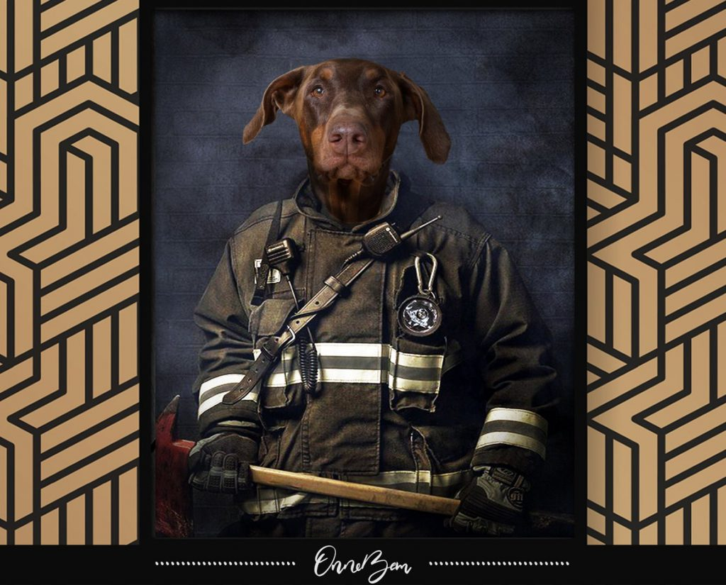 Custom Firefighters Pet Portrait and Personalized Gifts for Firefighters by Gifter World