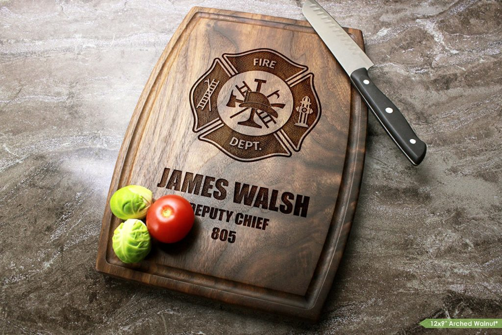 Personalized Firefighter Cutting Board and Other Unique Personalized Gifts for Firefighters by Gifter World