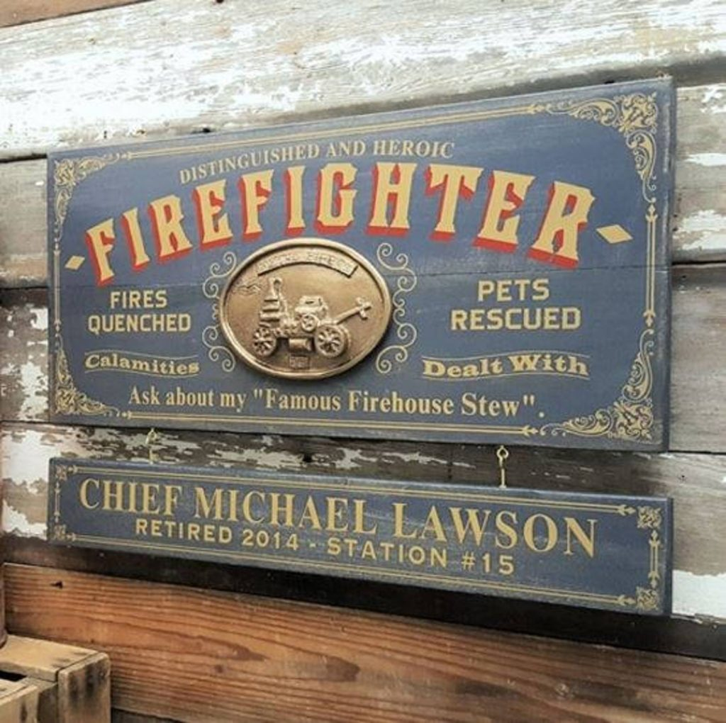 Retirement Sign for Firefighters and Unique Personalized Gifts for Firefighters by Gifter World