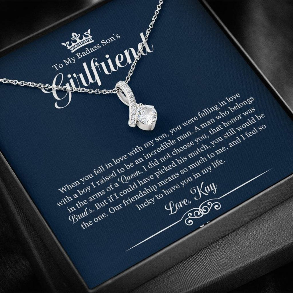 Badass Son's Girlfriend Necklace and Personalized Gifts for Son's Girlfriend and Significant Other by Gifter World